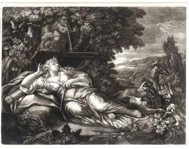 MEZZOTINT: Diana Asleep by a Fountain