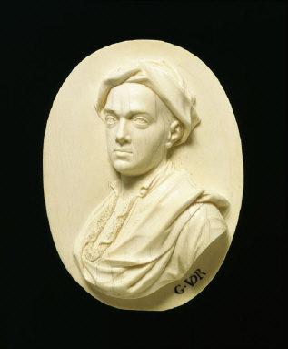 IVORY RELIEF of the portrait painter, Hamlet Winstanley