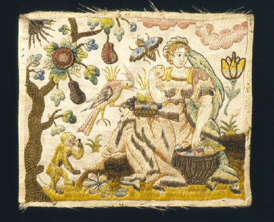 EMBROIDERED PANEL, probably for a casket