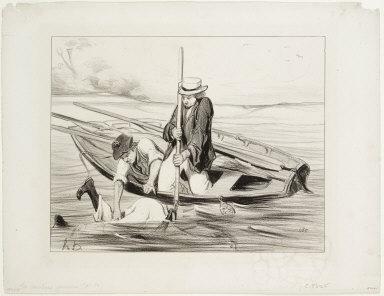 [Parisian Boatmen, plate 14: Man Overboard, Les Canotiers parisiens, Pl. 14: Un homme à la Mer]