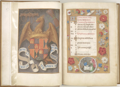 Hours of Queen Isabella the Catholic, Queen of Spain: Arms and Mottoes of Isabel la Católica, fol. 1 (verso)