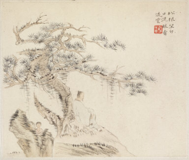 Album of Landscape Paintings Illustrating Old Poems: An Old Man Sits under a Pine Tree, a Boy is behind a Stone