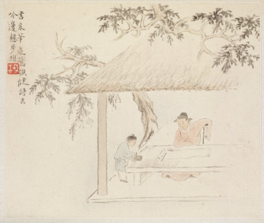 Album of Landscape Paintings Illustrating Old Poems: A Man Sits at a Table before an Open Scroll; a Boy Mixes Ink