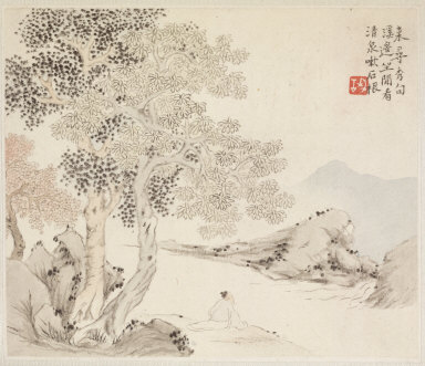 Album of Landscape Paintings Illustrating Old Poems: Three Big Trees, a Stream with an Old Man Sitting on the Bank