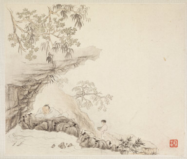 Album of Landscape Paintings Illustrating Old Poems: A Man Lies under a Rocky Overhang; a Boy Stands to his Right