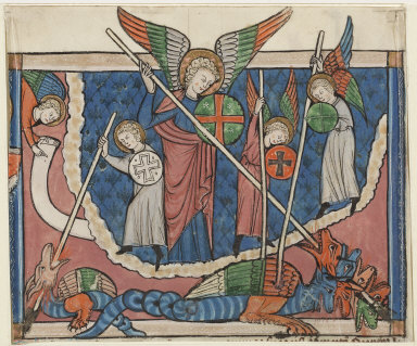 Miniature from a Manuscript of the Apocalypse: The War in Heaven
