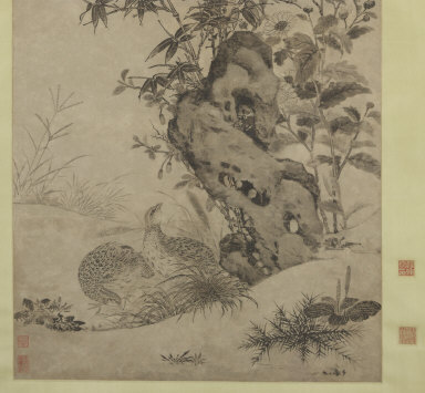 Quails and Sparrows in an Autumn Scene