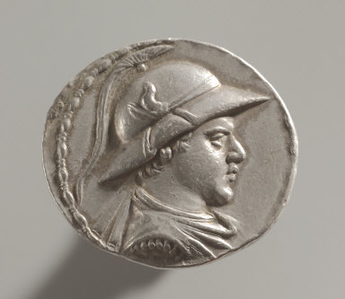 Tetradrachm: Bust Wearing Crested Helmet, with Bull's Horn and Ear (obverse)