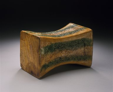 Funerary Headrest (Zhen) with Confronting Flying Fish and Floral Scrolls