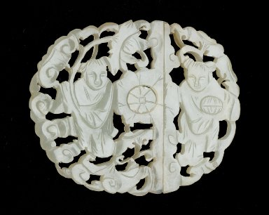 Buckle Plaque in the Form of Two Boys with Lotus (Lian) and Box (He)