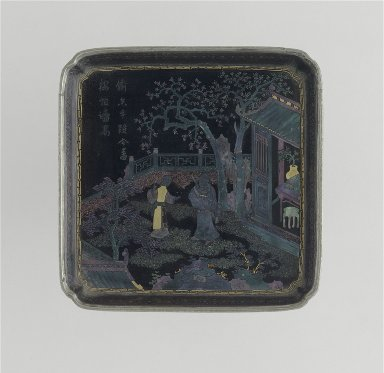 Square Dish (Die) with Scholar and Maiden in a Garden