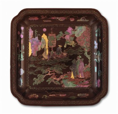 Square Dish (Die) with Scholars by the Shore