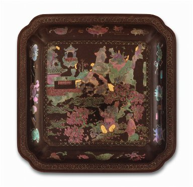 Square Dish (Die) with Scholars in Landscape