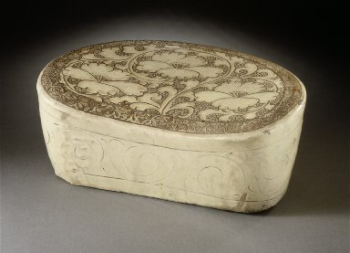 Headrest (Zhen) with Peony Scrolls