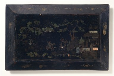 Rectangular Tray with Figures in a Landscape