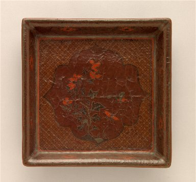 Square Tray (Fang Pan) with Flower and Butterflies