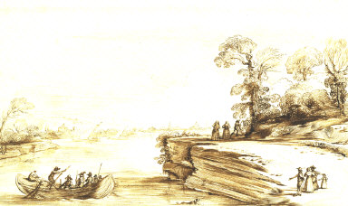 Landscape with a Boat on a River and Figures on a Bank