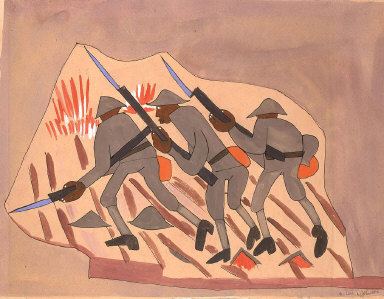 War Scene--Three Soldiers with Bayonnets