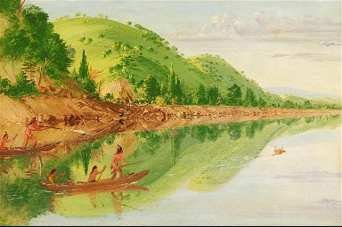 View on the St. Peter's River, Sioux Indians Pursuing a Stag in their Canoes