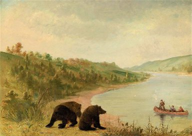 Catlin and His Men in Their Canoe, Urgently Solicited to Come Ashore, Upper Missouri