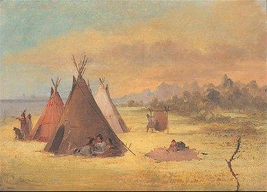 Indian Encampment, Comanche (or Kiowa) Dressing Skins, Red River