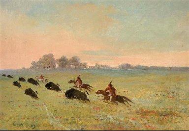 Comanche Indians Chasing Buffalo