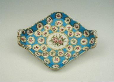 Lozenge-Shaped Tray with Roses, Turquoise Blue Ground