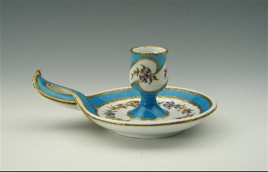 Candlestick with Floral Sprays, Partial Turquoise Blue Ground