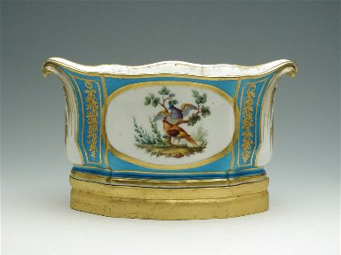 Oval Jardinière with Birds, Turquoise Blue Ground