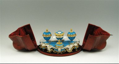 Inkstand with Turquoise Blue Ground and Gilt-Bronze Mounts