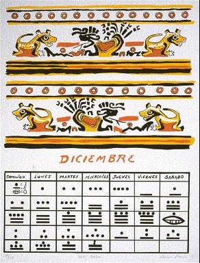 (one calendar of twelve serigraph images- IGUI BALAM, Diciembre 1975)