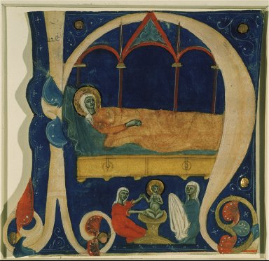 The Birth of the Infant Christ and Mary Lying on a Bed