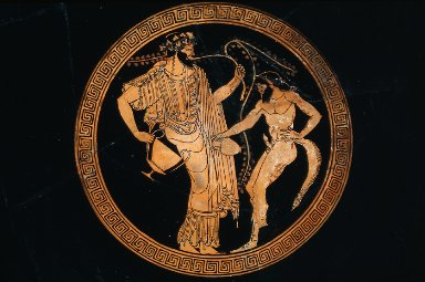 Kylix (wine cup) with Dionysos and a satyr