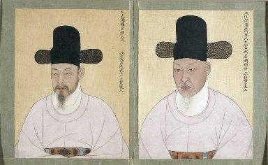 Double Portrait; Cho Chae-ho, Duke of Pung won (born im-o) and Cho Hyun-myong, Duke of Pung won (born simmi)