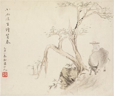 Album of Landscape Paintings Illustrating Old Poems: A Man Sits on a Water Buffalo