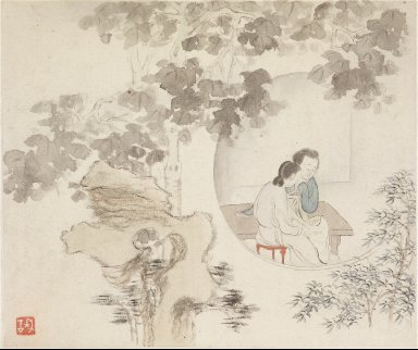 Album of Landscape Paintings Illustrating Old Poems: Two Women Sit at a Table within a Circle Visible in a Landscape