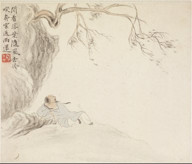 Album of Landscape Paintings Illustrating Old Poems: A Man Reclines beneath an Overhanging Branch