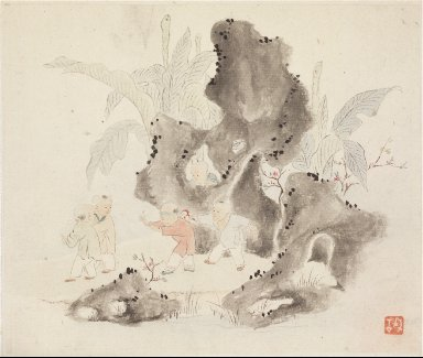 Album of Landscape Paintings Illustrating Old Poems: Children Play in a Rocky Grove