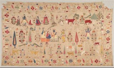 Rumal Decorated with Scenes of Krishna's Life