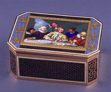 Octagonal black enamel snuff box with scene of Columbus at the Spanish Court
