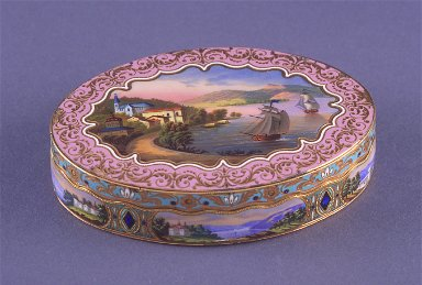 Snuff box oval, with scened of castles and lakes