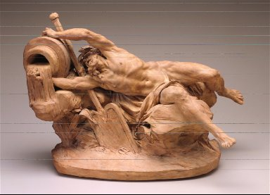 River God (The River Rhine Seperating the Waters) figure, lying on side, pouring water from urn