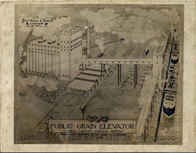 Drawing of public grain elevator