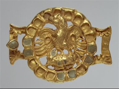 Belt or harness ornament with an eagle and its prey