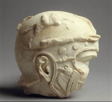 Head of a helmeted Roman soldier