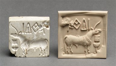 Stamp seal and a modern impression: unicorn or bull and inscription