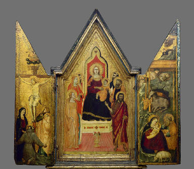 Virgin Enthroned with Saints, Crucifixion and Nativity
