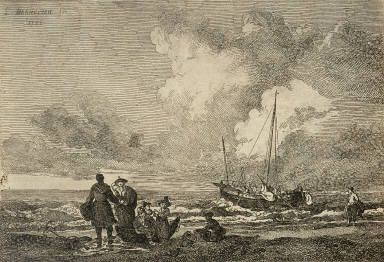 Sailing Ship To Right, A Group Of People On Beach