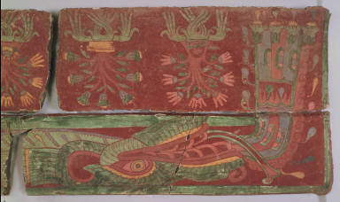 Feathered serpent and flowering trees red, green, yellow, and blue
