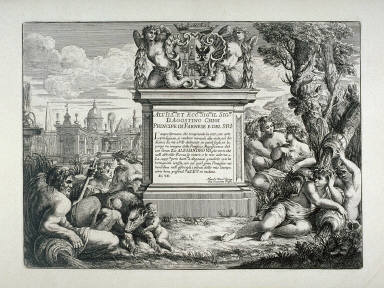 Frontispiece with a Pedestal supporting the Coat of Arms of Agostino Chigi, a Farnese Prince, dedication page to Giovanni Battists Faldas Le Fontane di Roma (Fountains of Rome)